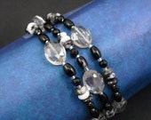 Memory Wire Bracelet - Onyx, Zebra Jasper and Smoke Crystal Glass Wrap