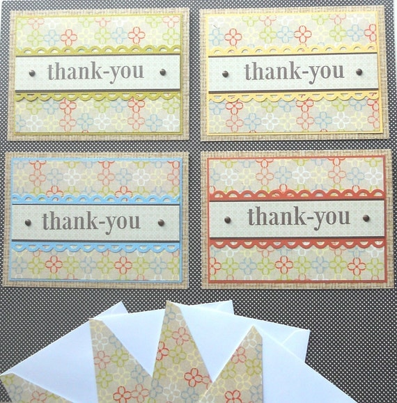 Thank You Card Set: 4 Handmade Cards with Matching Embellished Envelopes - Linen Beach