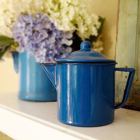 vintage enamelware, 2 coffee pots in petrol blue