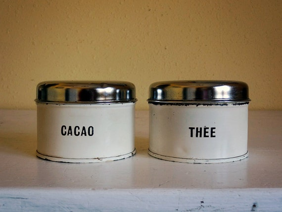 vintage Dutch canister set, thee (tea) and cacao, cream color with metal lids