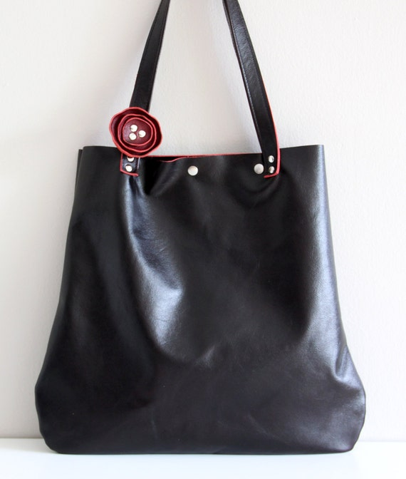 SALE -  Oversized Leather Tote Bag  - Handbag  - Rich Black Cherry with removable Burgundy Poppy