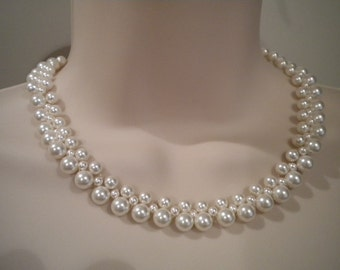 Pearl necklace, Woven Pearl necklace, Triple strand Necklace, angella