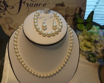 Bridesmaid gift set pearl necklace bracelet and earrings with rhinestones bridal jewelry wedding gift