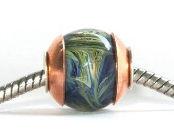 Big Hole Bead fits ALL European Charm Bracelets - Blue Danube Waltz BHB