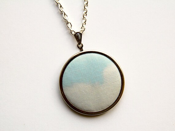 Cloud Photograph Necklace - Photograph on Fabric Pendant Necklace - Blue Sky - Whimsical Dreamy Surreal - Textile Abstract