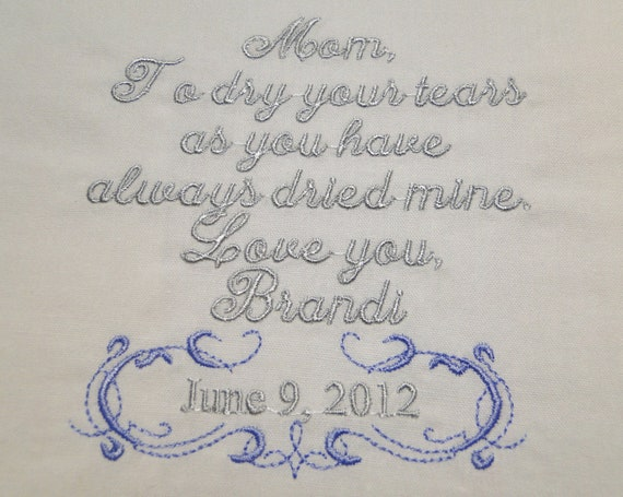 Personalized Mother of the Bride embroidered wedding handkerchief with gift box