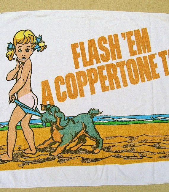 70s beach towel Coppertone terry cloth promotional swim accessory - Mad Men advertising chic 1970s fashion