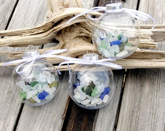 BEACH SEA GLASS 3 Ornaments, beach decor, nautical ornament, Christmas