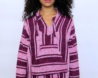 The Pink Surfer Striped Hoodie Poncho Medium Large
