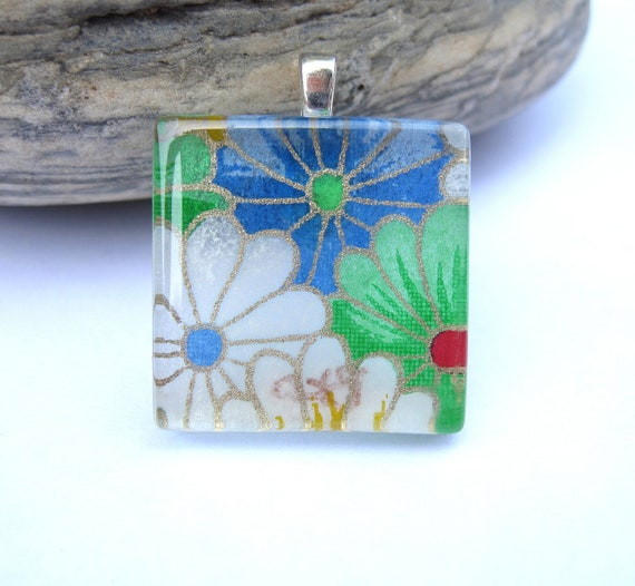 Pocketful of Posies Square Pendant. Japanese Chiyogami Necklace. Asian Paper and Handmade Glass Tile.