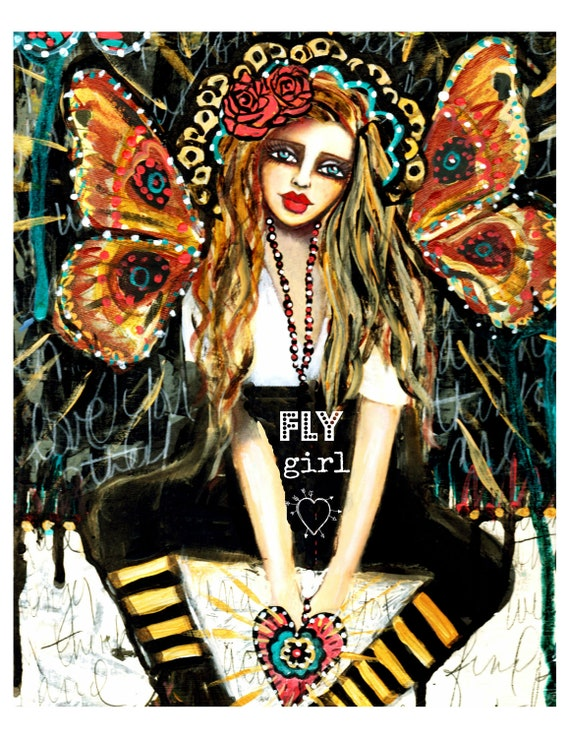 Fly Girl' fine art print of a mixed media painting by Lisa Ferrante