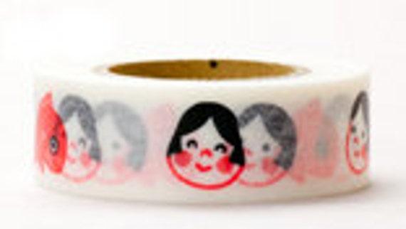 Japanese Washi Masking Tape - Okame Mask & Fish - Yamada - 18mm wide