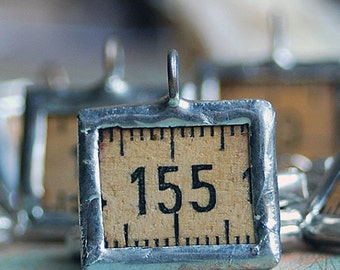 charms made from a vintage ruler...  for your bracelets, necklaces...   JEWELRY...  POVT