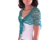Ocean Waves and Sea Foam Hand Knit Lace Shawl with Beaded Edge