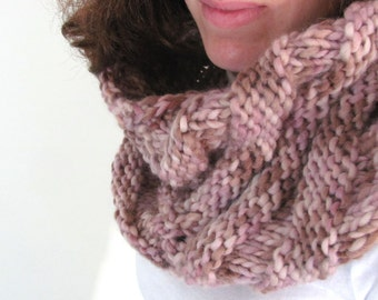 Brown, Pink and Ivory Triangle Design Hand Knit Chunky Knit Cowl