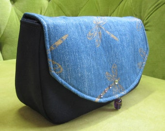 Periwinkle Blue and Gold Dragonfly Bag or Clutch