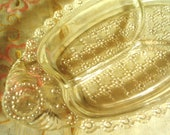 ORNATE Vintage Glass Oval Tray - Sectioned - Vanity Tray - Relish Tray - Jewelry tray - So CHIC