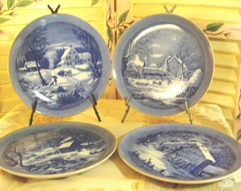 BEAUTIFUL Set of Four 4 Porcelain Plates - Cabinet Plates - Wall Hangings - Country Winter Scenes