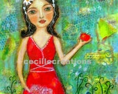 Persephone - original mixed media collage painting with dolls,folk art doll, whimsical