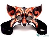 Leather Venetian Style Copper and Black  Fox Mask
