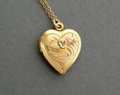 Antique Sterling Heart Locket. Diamond. Floral. Stripe. 12k Gold Fill Wash.