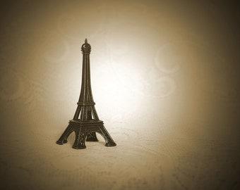 Eiffel Tower on Lace - Sepia Still Life Photograph - 12x8 - French, France, Paris, romance, j'aime, j'adore, love, travel, journey