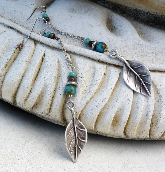 Dangle Earrings -  Long, Silver, Turquoise Blue, Leaf, Tribal, Rustic, South Western, Bohemian Czech Glass, Aqua, Shoulder Duster, For Her