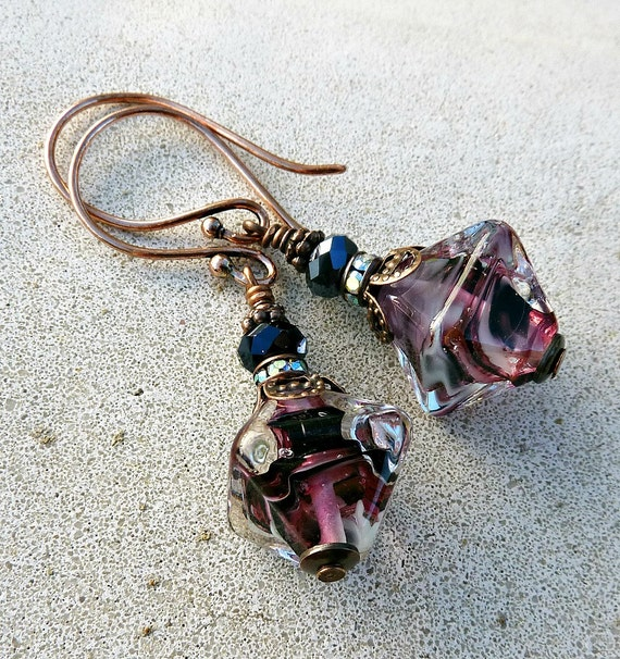 Dusk Swirl Copper Crystal and Lampwork Earrings
