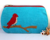 Tilly super sweet aqua red birdy purse
