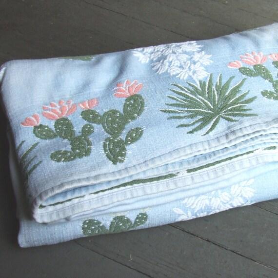 Vintage Bates Bedspread Pink Green Cactus 1950s