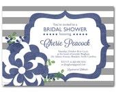 Navy Bridal shower invitation, Navy and gray baby shower invitation, printable digital DIY