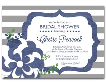 Navy Bridal shower invitation, Navy and gray baby shower invitation, printable digital DIY