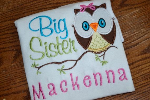 Big Sister / Little Sister Owl Applique Shirt
