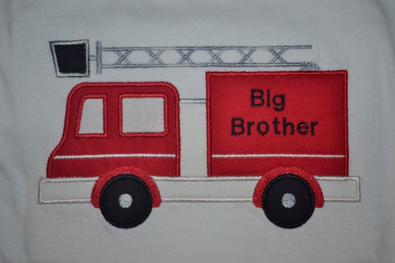Big Brother / Little Brother Fire Truck Applique Shirt