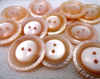 Soft Peach Vintage Buttons - Large Plastic Sew Through Coat Buttons