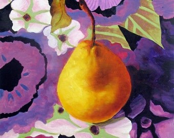 Golden Pear, Still Life Fruit Oil Painting 12 x 12 Beautiful Original Art by Marina Petro