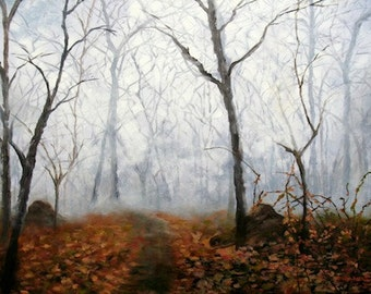 Autumn Mist FRAMED Landscape Forest In Autumn Art Print, SIGNED, From The Original Oil Painting by Marina Petro