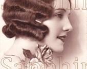 DIGITAL DoWNLOAD of FReNCH Antique 1920s Postcard of Art DECO Flapper Lady PARiS FRaNce Photograph VinTage IMAge Craft Supplies Scan