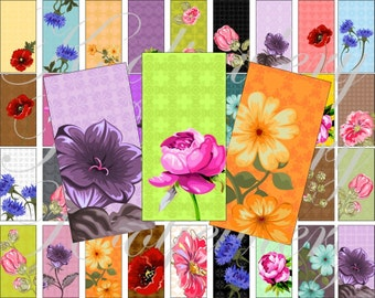 Vintage flowers Domino size 2 x 1 inches for pendant, scrapbook and more - Digital Collage Sheet No.988