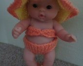 Knit Bikini Set for 5 inch Berenguer Bitty Baby Doll Clothes