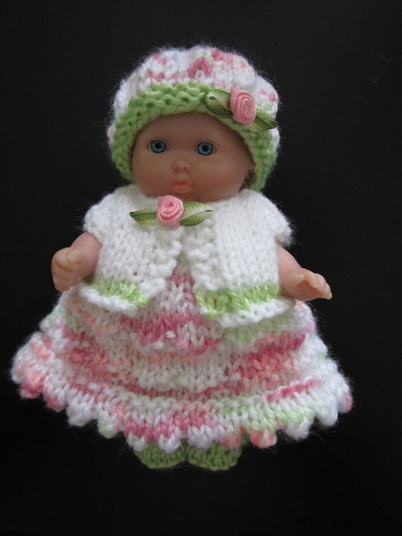 Knitted Doll Clothes for 5 inch Berenguer baby doll Dress with