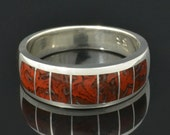 Dinosaur Bone Ring with Swirling Red Pattern In Sterling Silver