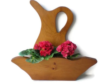 Vintage Mail Holder Planter Large Wooden Pitcher