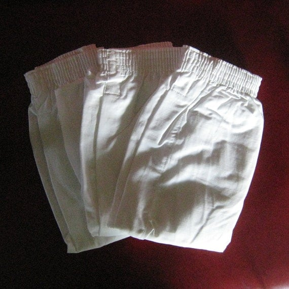 Vintage Men's Boxers Military Issue Cotton Drawers 1960's NOS 3 Pair, Size 30-32