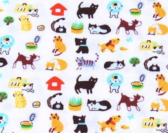 2361A  -- Kawaii Doggie and Kitten Fabric in White