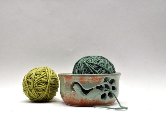 Sale-Pistachio Green Pottery Yarn Bowl