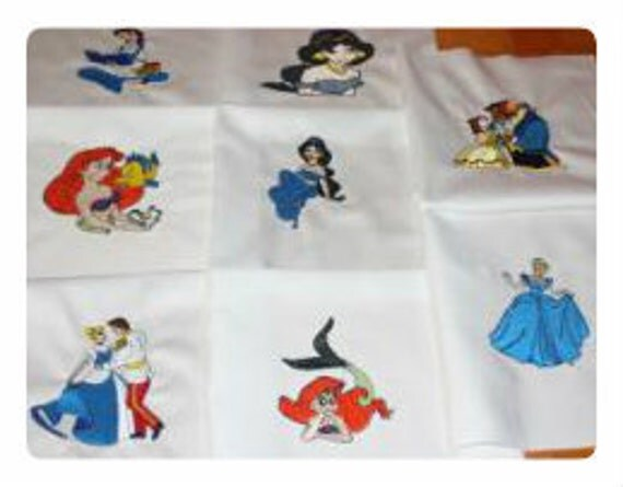 Disney Princess  Machine Embroidered Quilt Blocks Set B