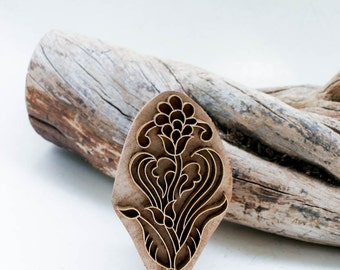 Indian Wood Stamp Flower 183