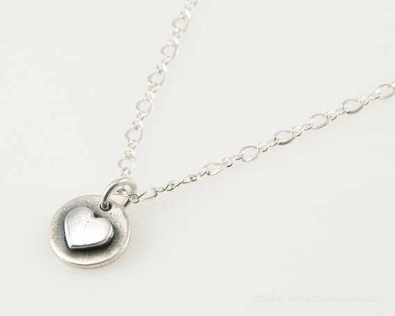 Petite heart necklace PMC fine silver pendant tiny heart charm minimalist jewelry sterling silver gift for friend