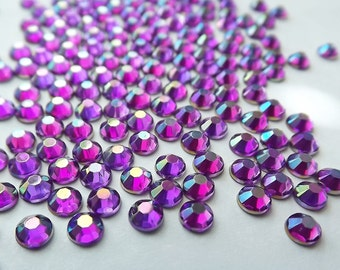 Violet AB 16ss Acrylic Rhinestones 1 Gross 144 Pcs Flatback